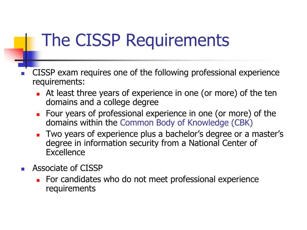 The CISSP Requirements