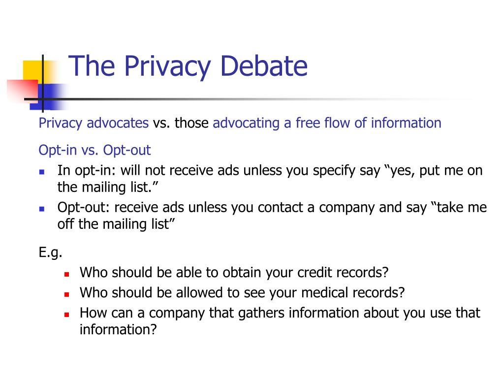 The Privacy Debate