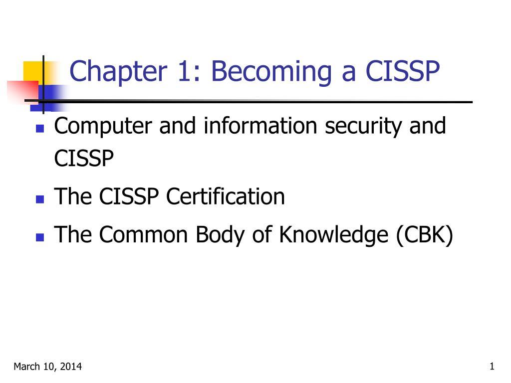 chapter 1 becoming a cissp l.