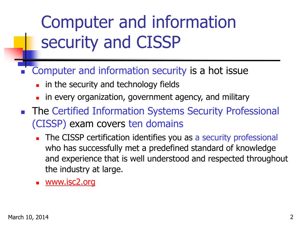 Computer and information security and CISSP