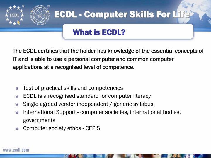 Ecdl computer skills for life