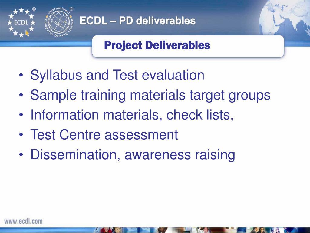 ECDL – PD deliverables