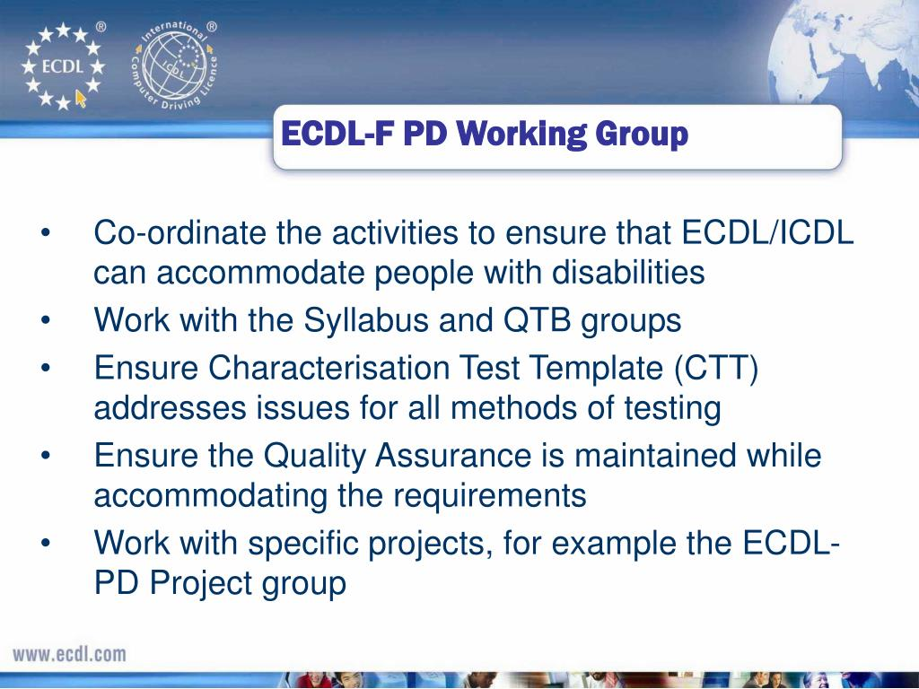 ECDL-F PD Working Group