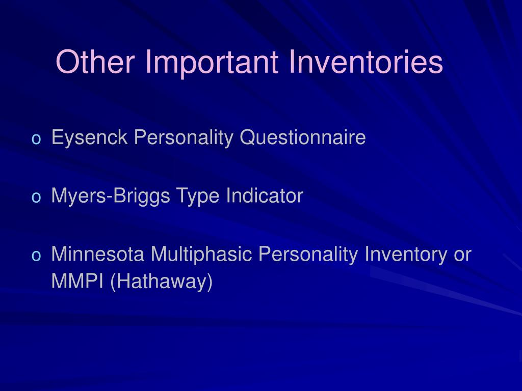 Other Important Inventories