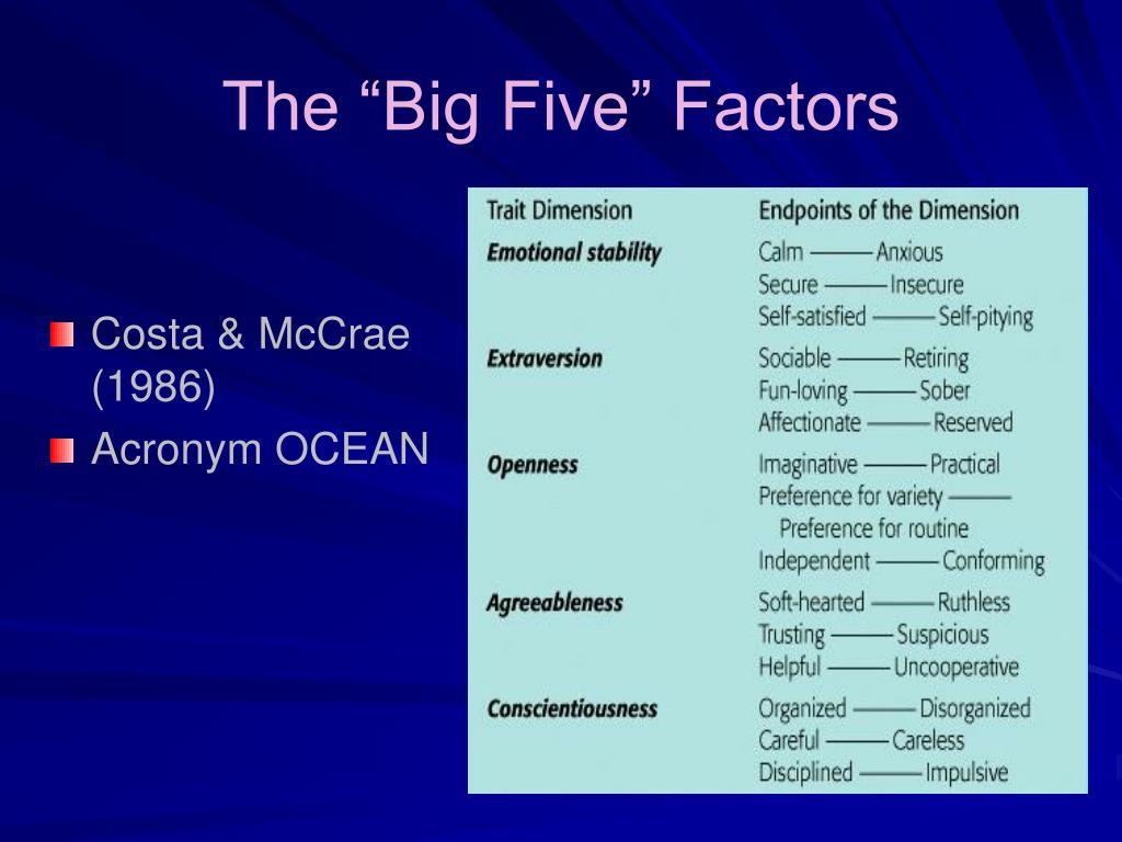 """The """"Big Five"""" Factors"""
