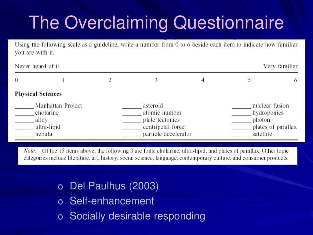 The Overclaiming Questionnaire