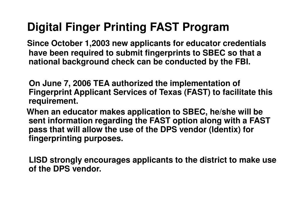 Digital Finger Printing FAST Program