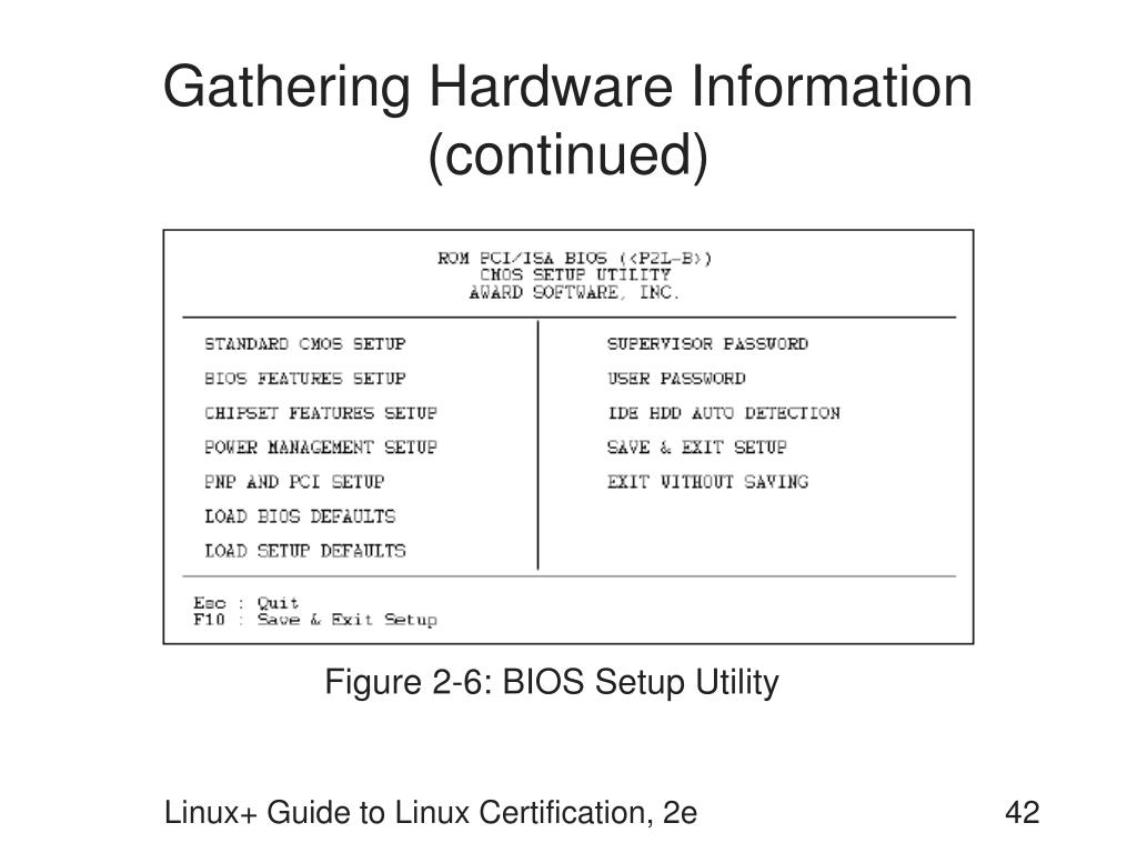 Gathering Hardware Information (continued)