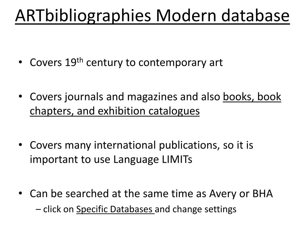 ARTbibliographies Modern database