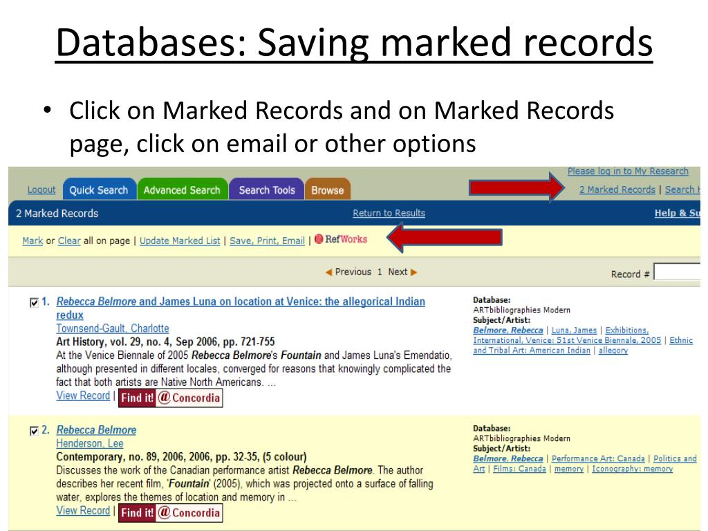 Databases: Saving marked records