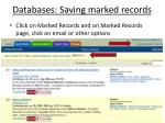 databases saving marked records