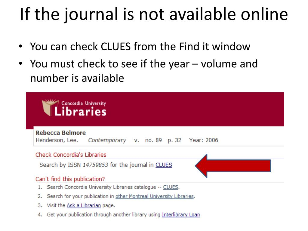 If the journal is not available online