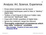analysis art science experience