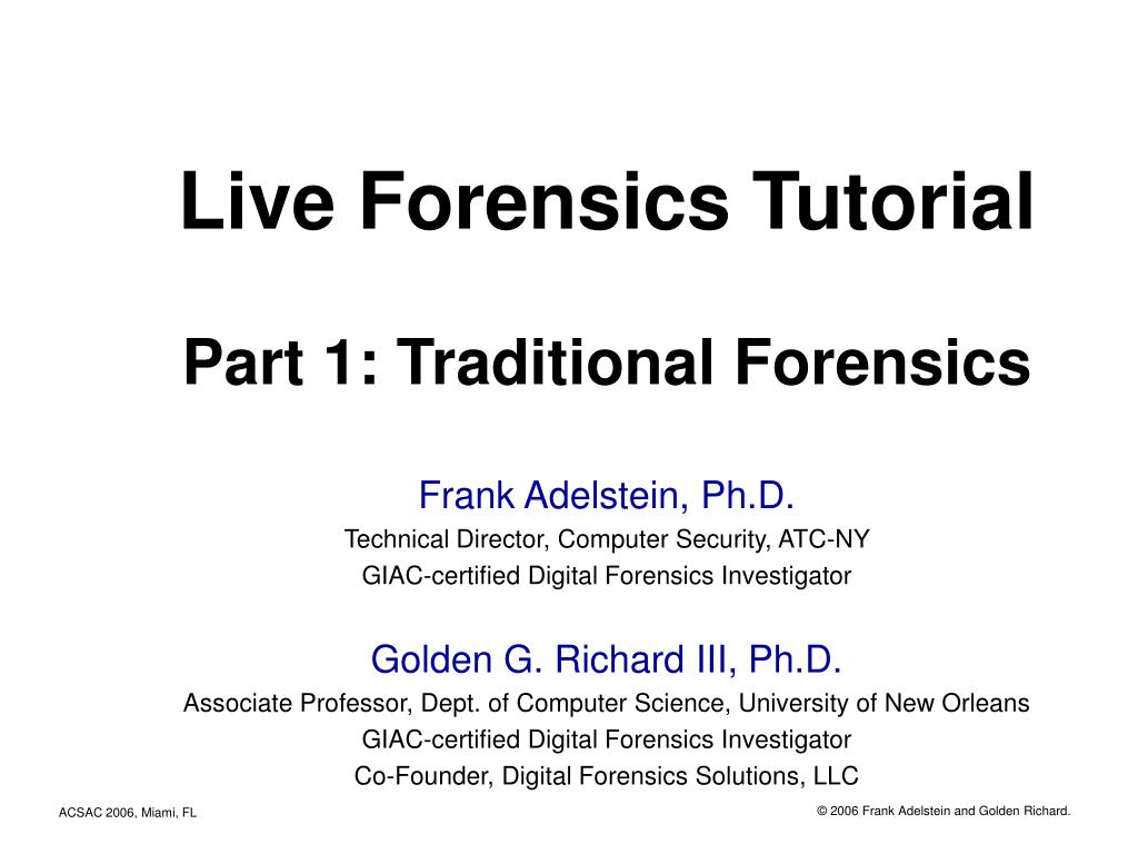 live forensics tutorial part 1 traditional forensics l.