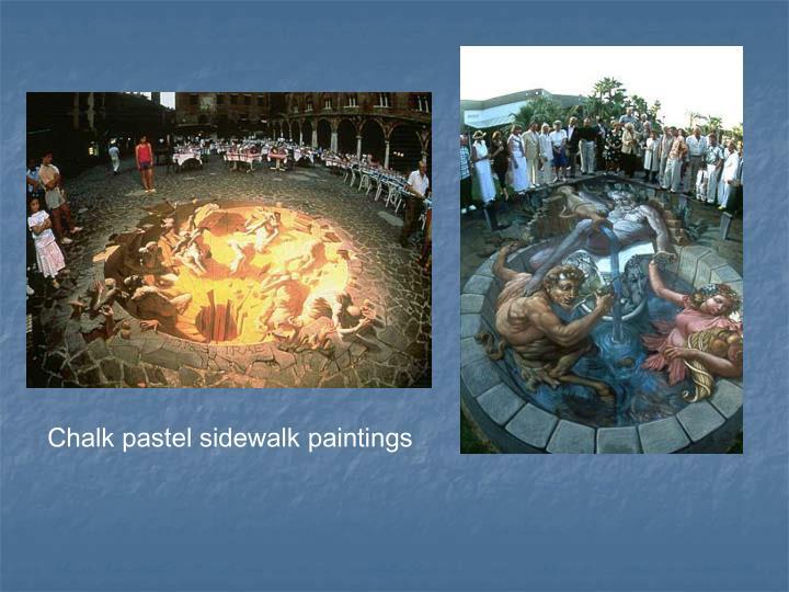 Chalk pastel sidewalk paintings