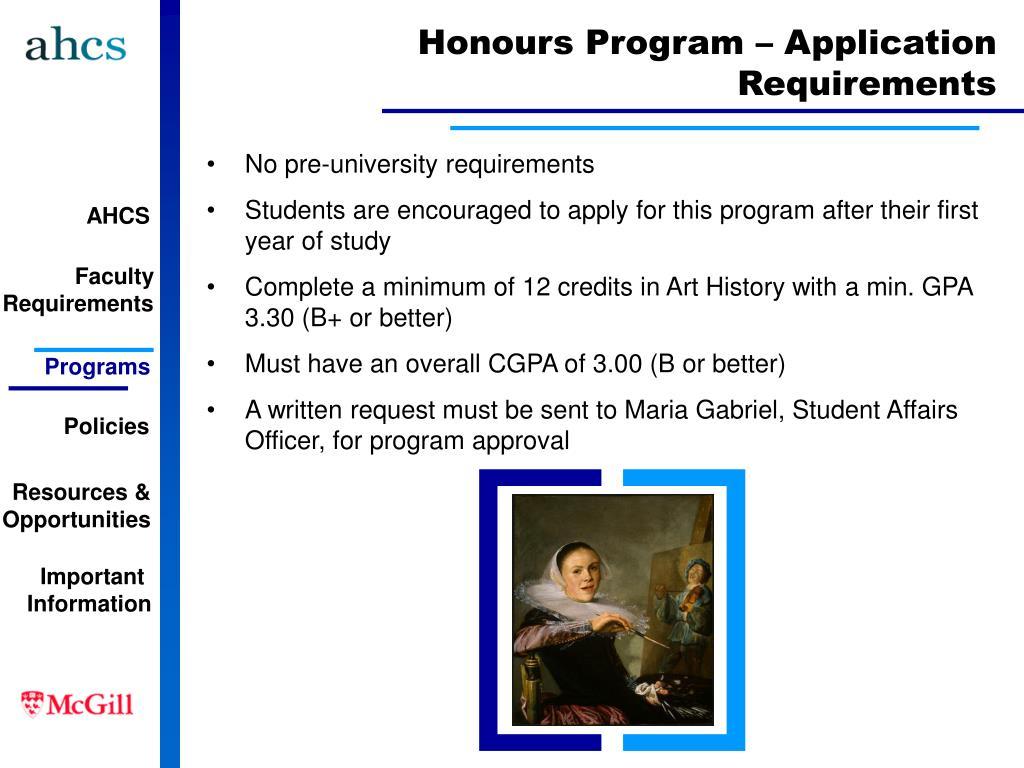 Honours Program – Application Requirements