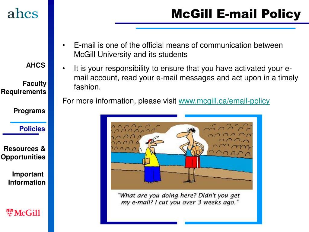 McGill E-mail Policy