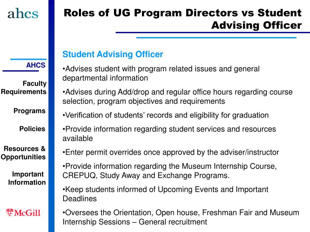 Roles of UG Program Directors vs Student Advising Officer