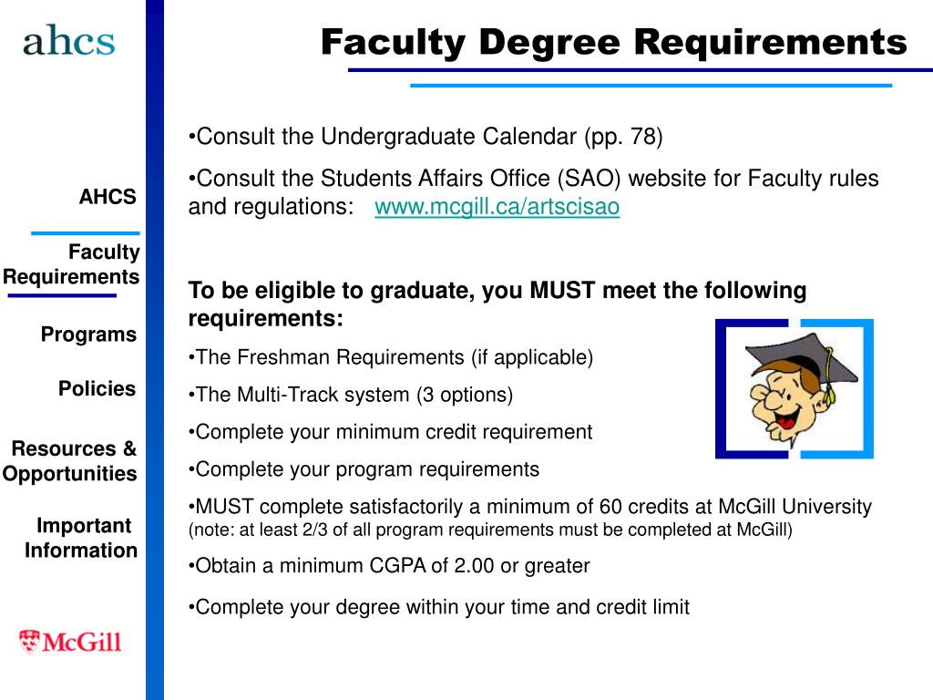 Faculty Degree Requirements
