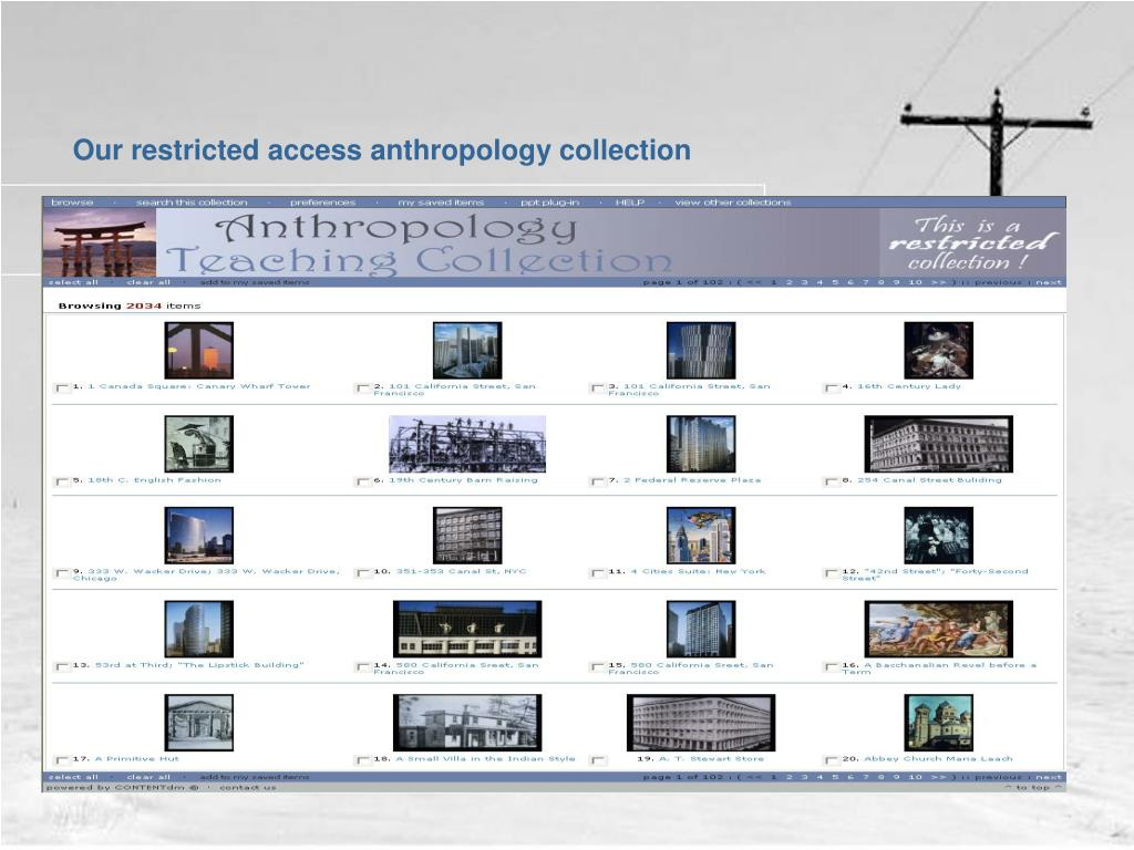 Our restricted access anthropology collection