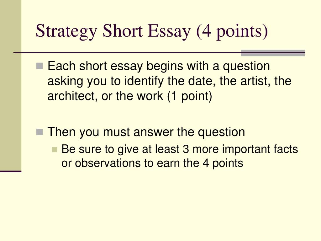 Strategy Short Essay (4 points)