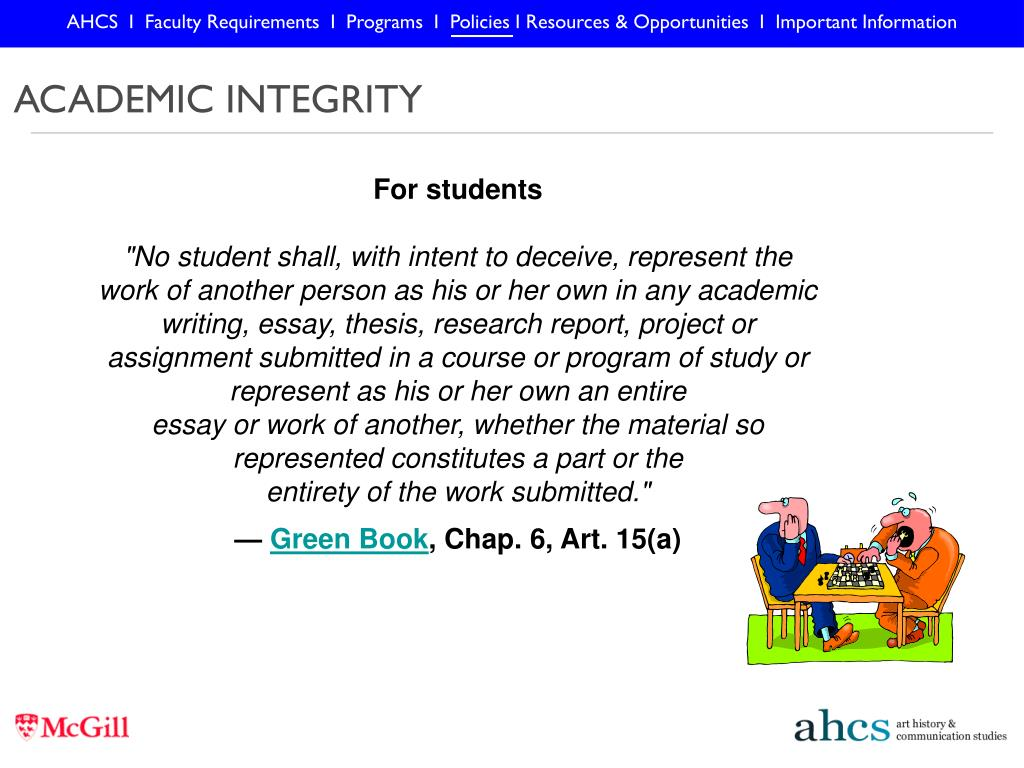 AHCS  I  Faculty Requirements  I  Programs  I  Policies I Resources & Opportunities  I  Important Information