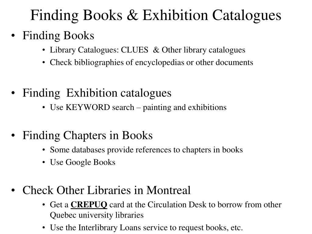 Finding Books & Exhibition Catalogues