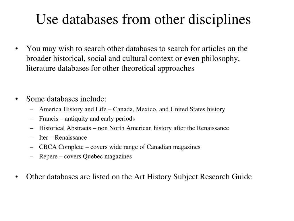 Use databases from other disciplines