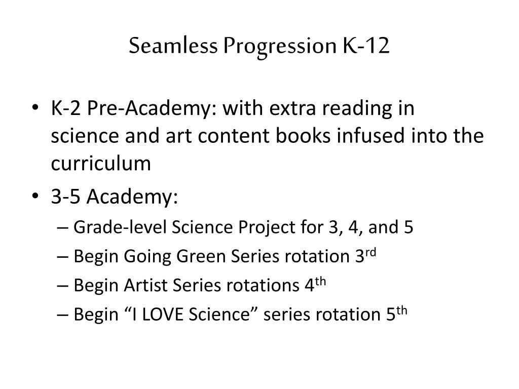 Seamless Progression K-12