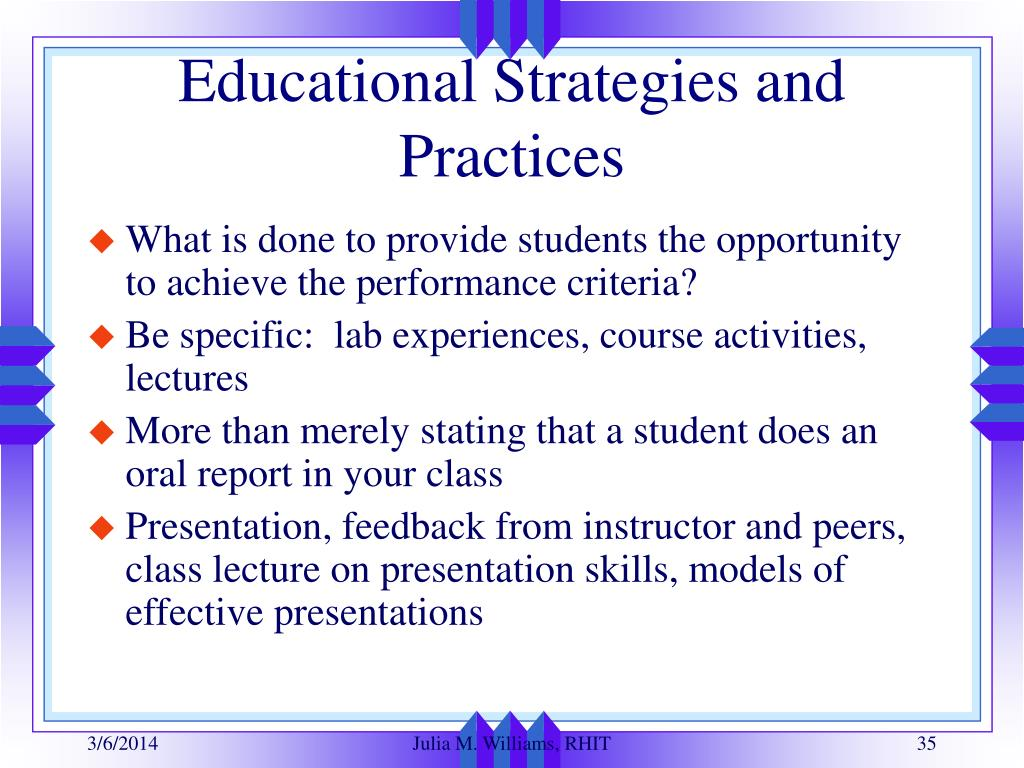 Educational Strategies and Practices