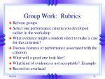 group work rubrics