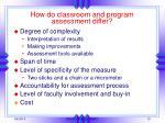 how do classroom and program assessment differ