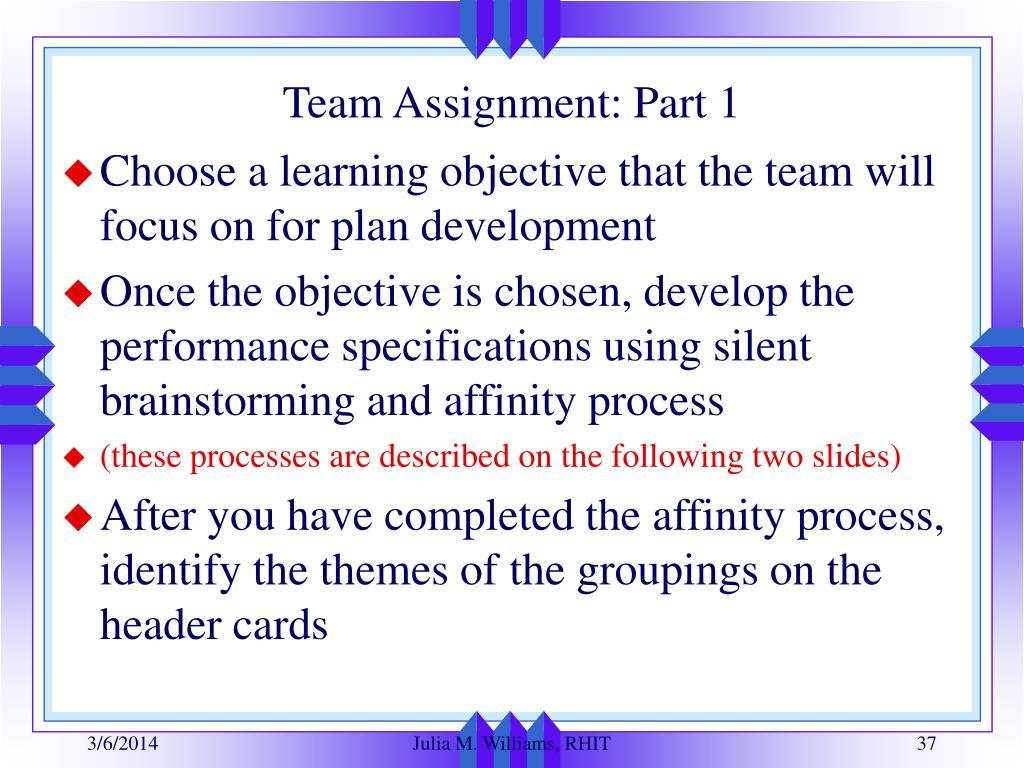 Team Assignment: Part 1