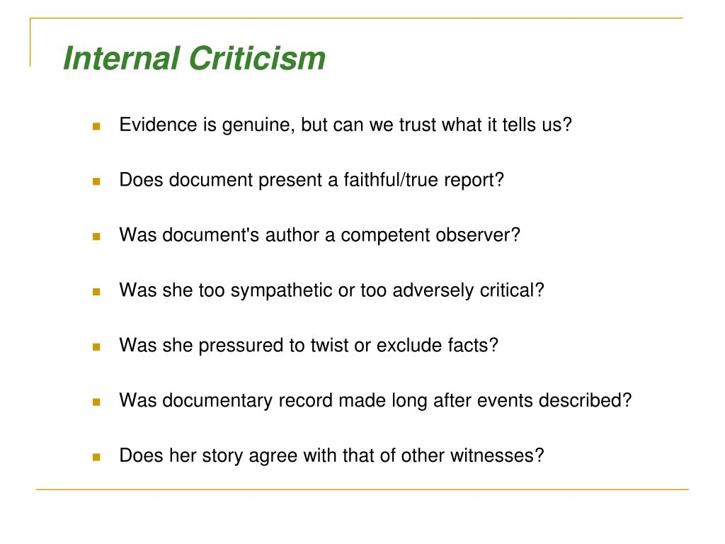 Internal Criticism