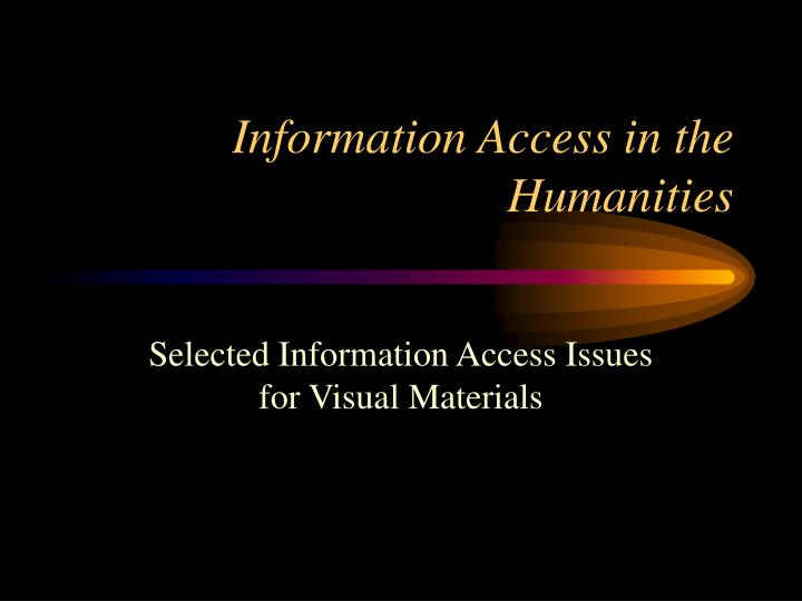 information access in the humanities n.