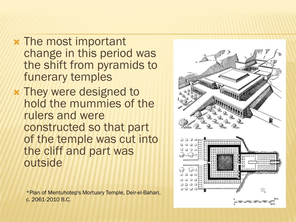 The most important change in this period was the shift from pyramids to funerary temples