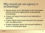 why should we use agency in archaeology