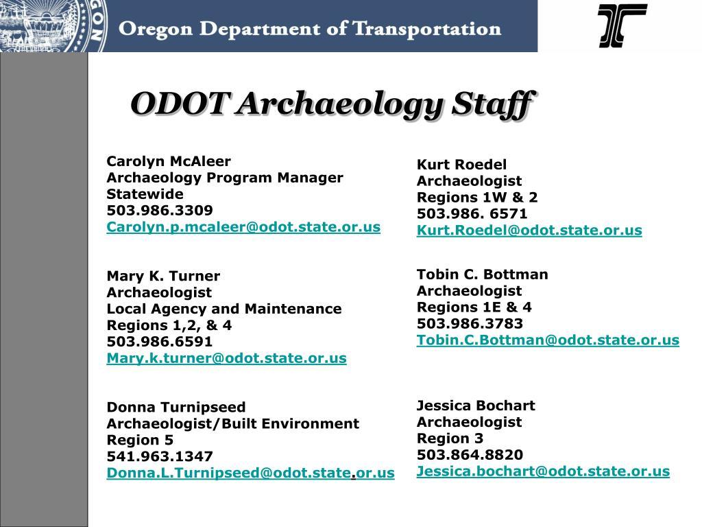 ODOT Archaeology Staff