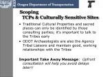 scoping tcps culturally sensitive sites