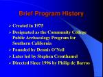 brief program history