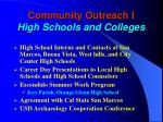 community outreach i high schools and colleges