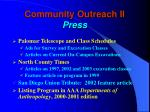 community outreach ii press