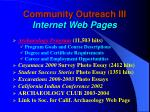 community outreach iii internet web pages
