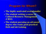 program for whom
