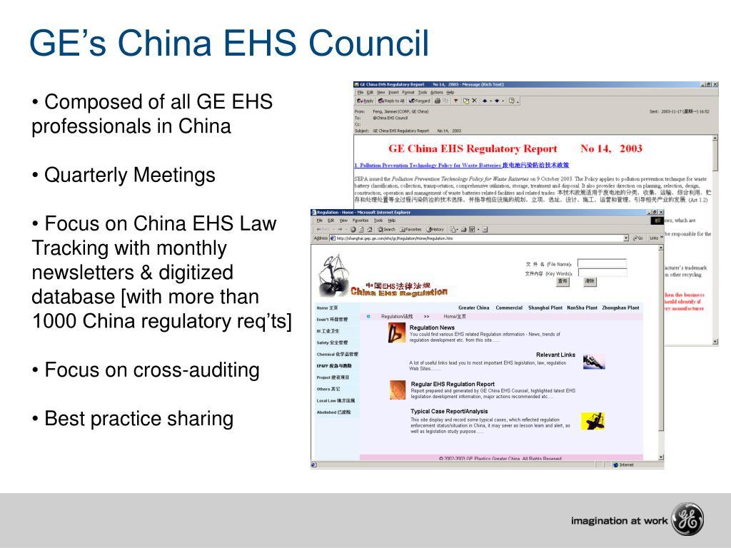 GE's China EHS Council