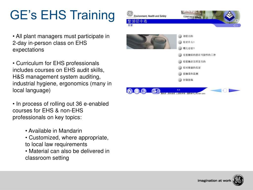 GE's EHS Training