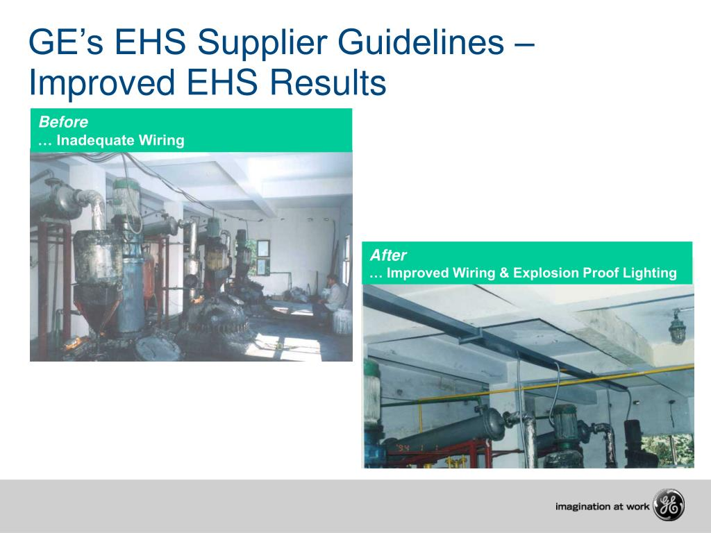 GE's EHS Supplier Guidelines – Improved EHS Results