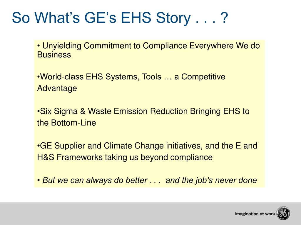 So What's GE's EHS Story . . . ?