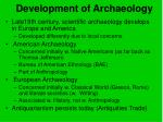 development of archaeology
