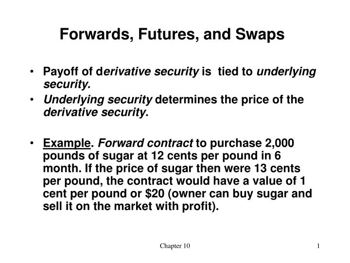 Forwards futures and swaps
